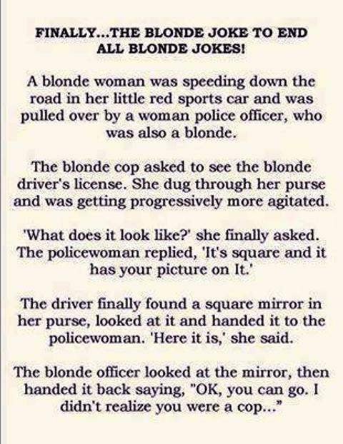 The Blonde Joke to end all Blonde Jokes.