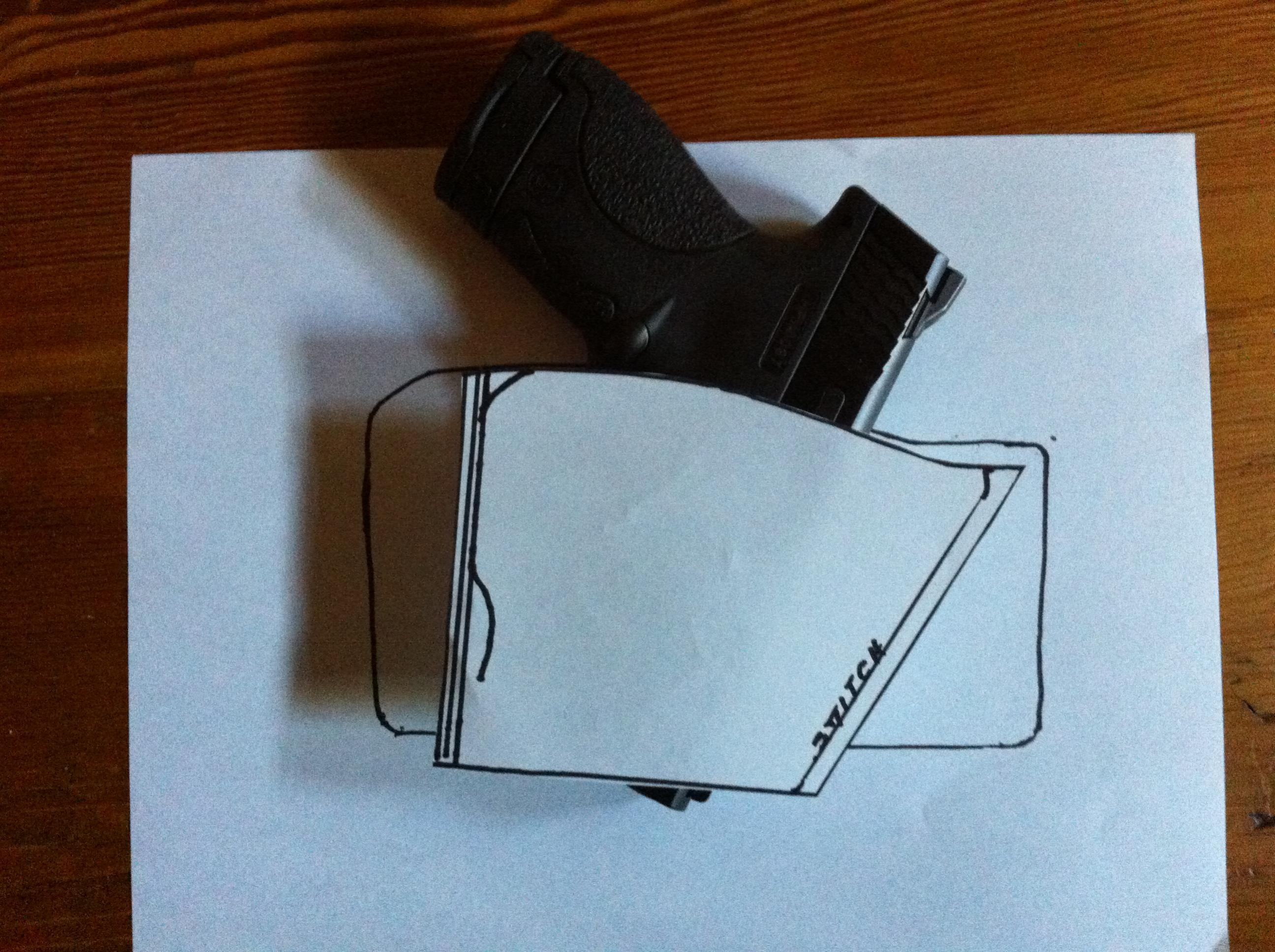 image relating to Printable Leather Holster Patterns called Do-it-yourself Tuckable molded leather-based IWB holster