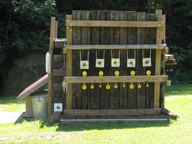 Setting up private shooting range.