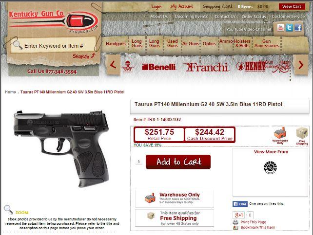 The+KY+Gun+Company PT140 G2 @Kentucky Gun Co. $244.42