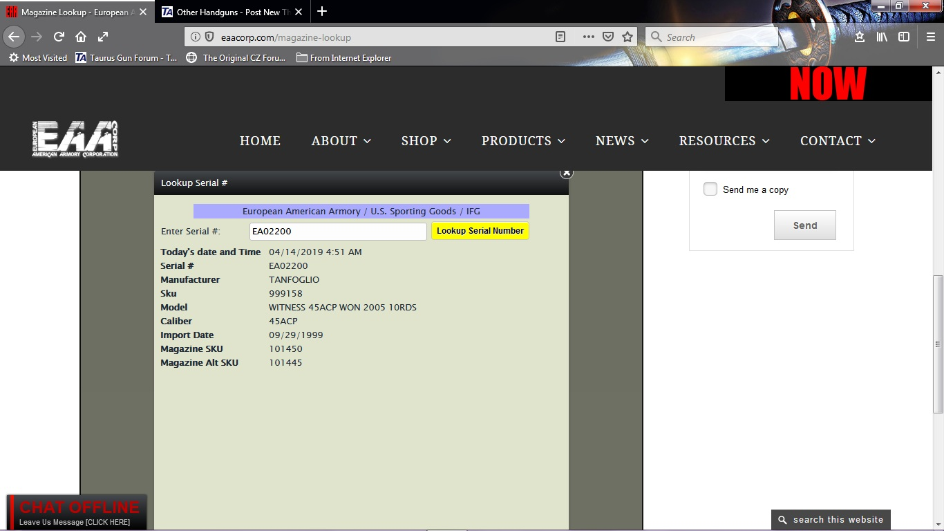 Taurus Serial Number Lookup >> For EAA Witness owners and other EAA products